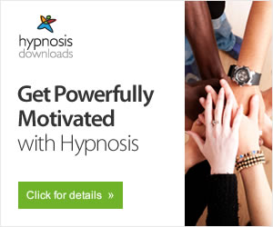 Group of hands joined together for motivation using hypnosis logo