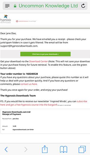Order Confirmation Screenshot